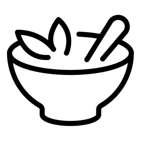 Soup bowl icon, outline style 矢量图像
