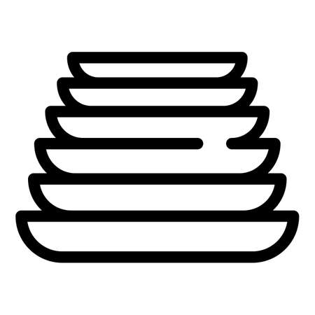 Clean stack plates icon, outline style Vektorové ilustrace