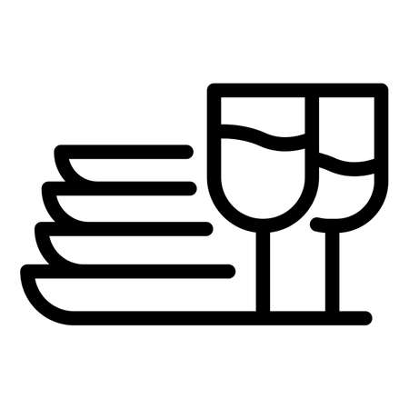 Kitchen home plates icon, outline style
