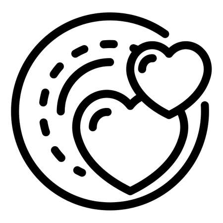 Hearts plate icon, outline style