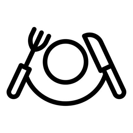 Home knife fork plate icon, outline style