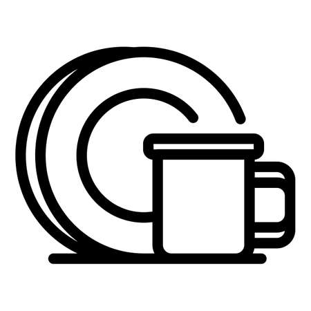 Mug plate icon, outline style 矢量图像