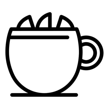 Mug tea lemon icon, outline style  イラスト・ベクター素材