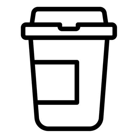 Plastic coffee cup icon, outline style 向量圖像