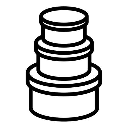 Round box icon, outline style 向量圖像