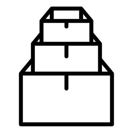 Pile stack box icon, outline style