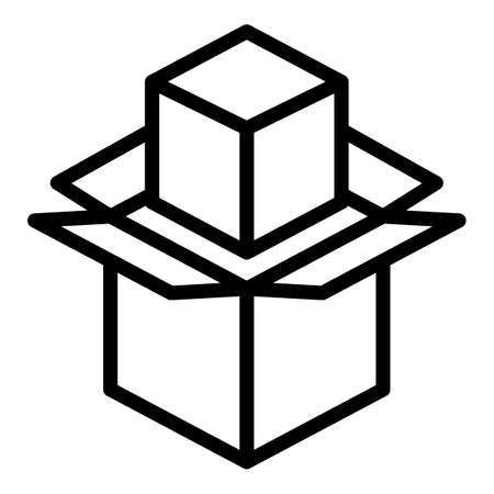 Shipping box icon, outline style