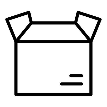 Open parcel box icon, outline style 向量圖像