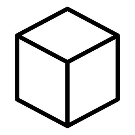 Cube box icon, outline style
