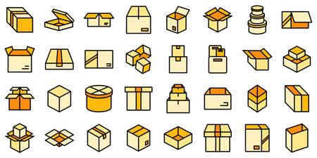 Box icons set vector flat