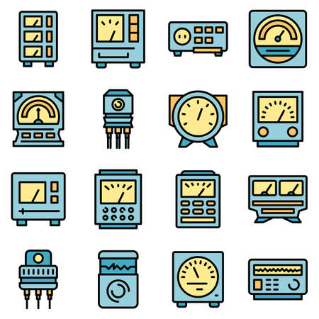 Voltage regulator icons set vector flat