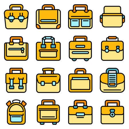 Laptop bag icons set vector flat