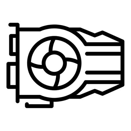 Graphics card icon, outline style 向量圖像