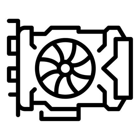 Pc video card icon, outline style 向量圖像
