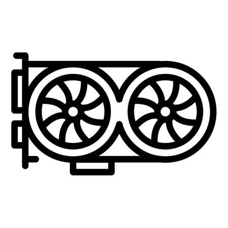 Gpu graphic card icon, outline style