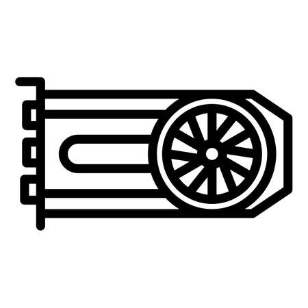 Computer graphic card icon, outline style