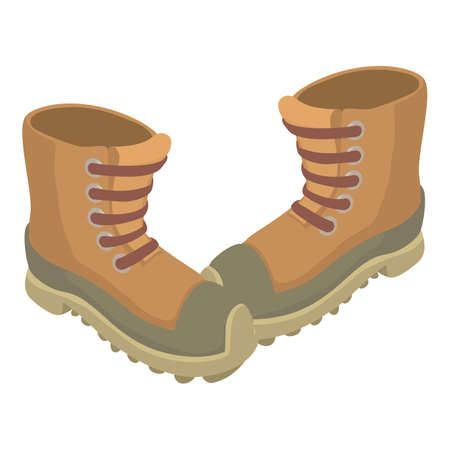 Army boots icon, isometric style