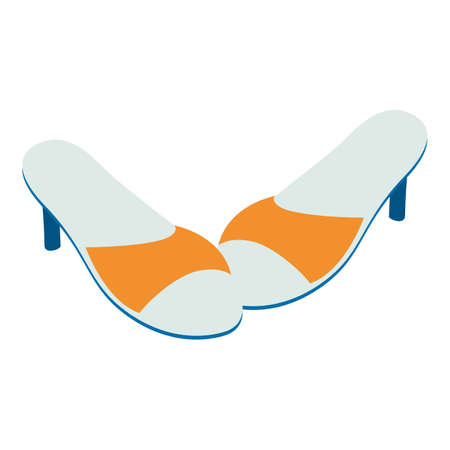 Summer footwear icon, isometric style