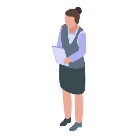 Woman manager agitation icon, isometric style