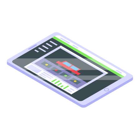 Stream tablet icon, isometric style