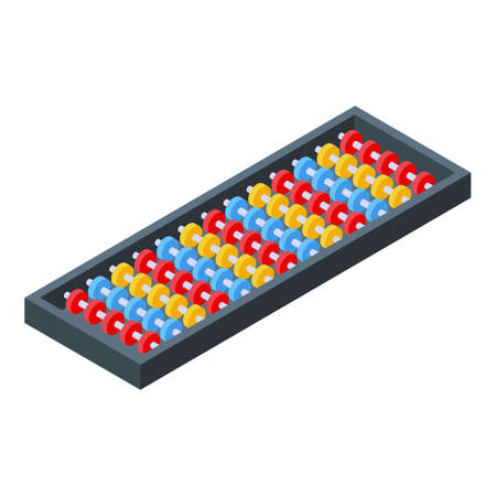 Accounting abacus icon, isometric style