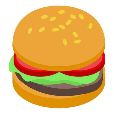 Arugula burger icon, isometric style