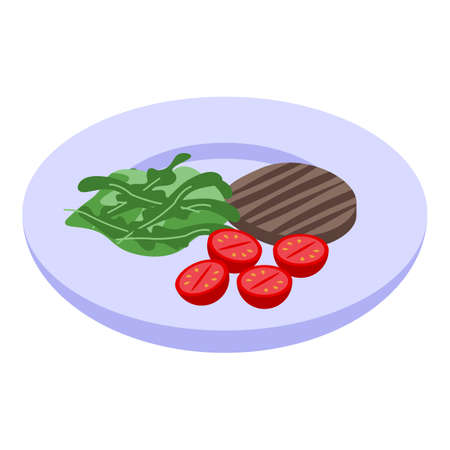 Arugula steak food icon, isometric style