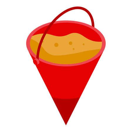 Rescuer sand bucket icon, isometric style