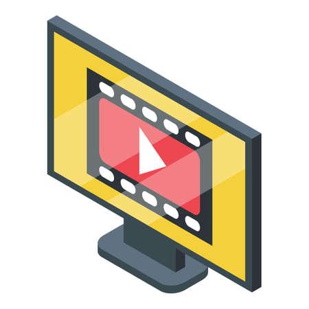Video subscription icon, isometric style  イラスト・ベクター素材