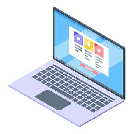 Laptop subscription icon, isometric style