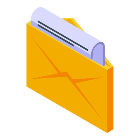 Mail subscription icon, isometric style