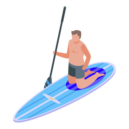 Surfer icon, isometric style