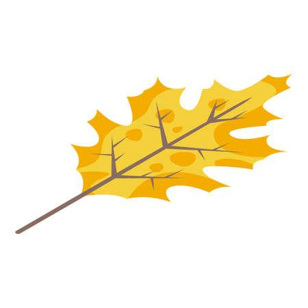Yellow autumn leaf icon, isometric style
