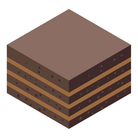 Chocolate cake icon, isometric style