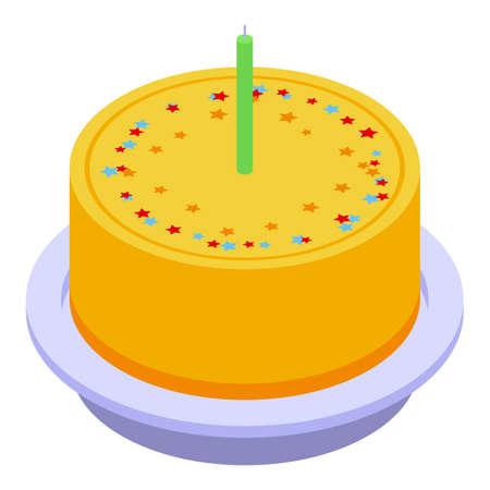 Fruit cake icon, isometric style