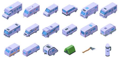 Auto camping icons set, isometric style Illustration