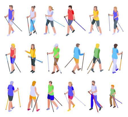Nordic walking icons set, isometric style 向量圖像