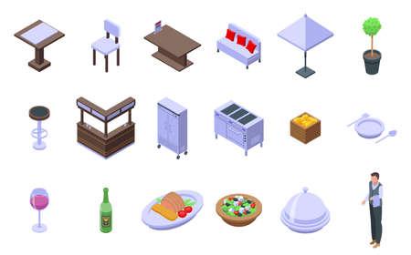 Restaurant icons set, isometric style