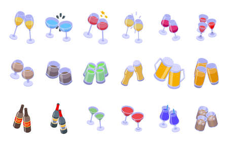 Cheers icons set, isometric style 向量圖像
