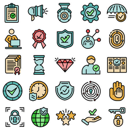 Reliability icons set vector flat Ilustrace