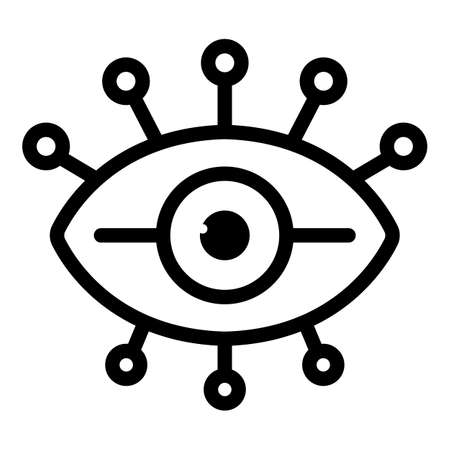 Ancient eye amulet icon, outline style