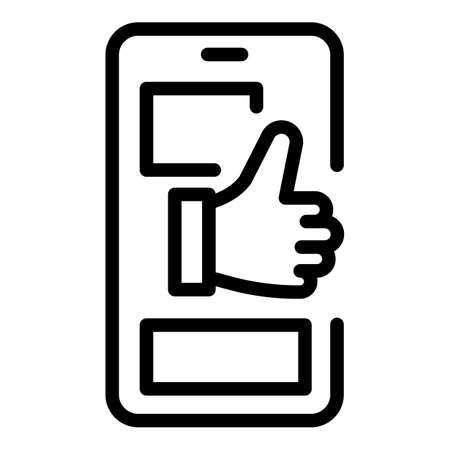 Thumb up chat product review icon, outline style Illustration