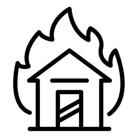 House in fire icon, outline style Illustration