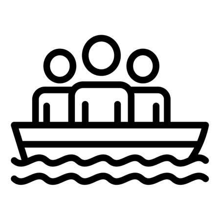 People in rescue boat icon, outline style