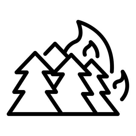 Forest in fire icon, outline style