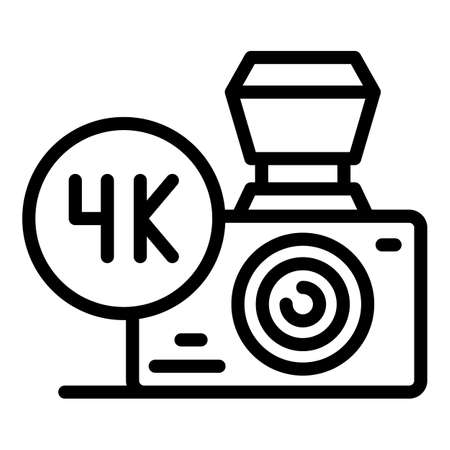 Camera 4k stream icon, outline style