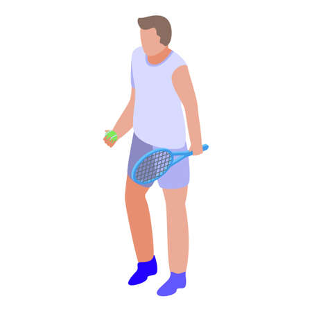 Weekend tennis playing icon, isometric style