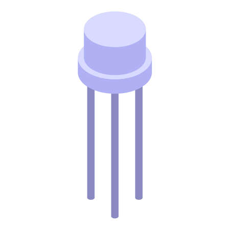 Voltage regulator transistor icon, isometric style