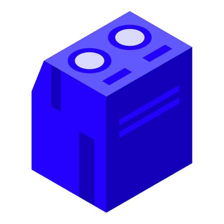 Blue voltage regulator icon, isometric style Иллюстрация