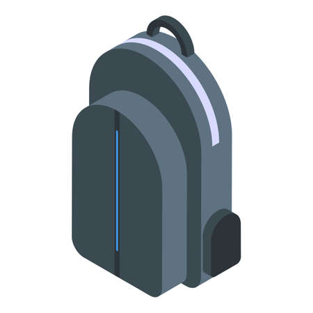 Waterproof laptop backpack icon, isometric style